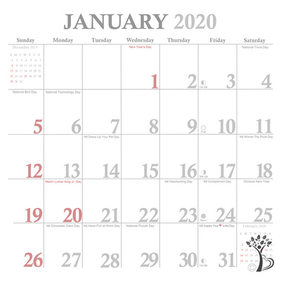 ATP Exclusive Calendar Grid January 2020